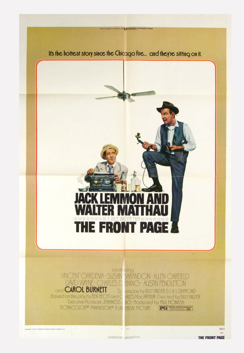 The Front Page Movie Poster 1974 Jack Lemmon Walter Matthau 27x41