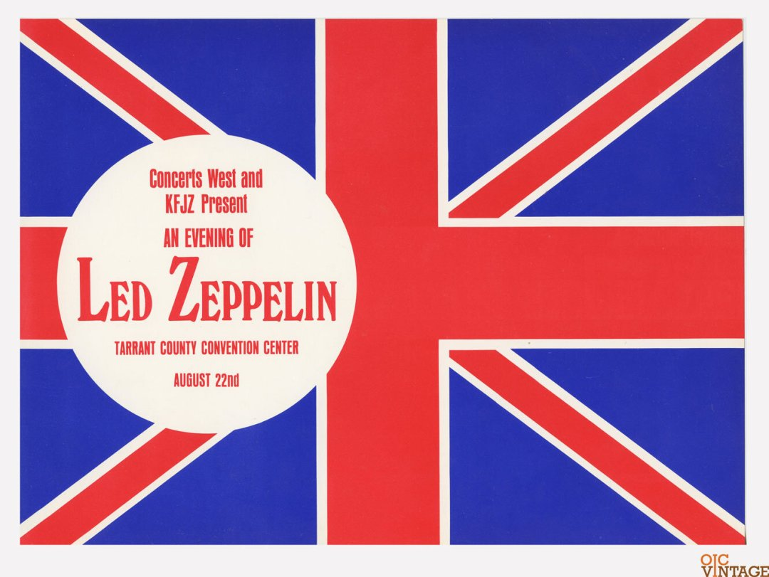 Led Zeppelin Handbill North American Tour Summer 1970 Aug 22 Fort Worth TX