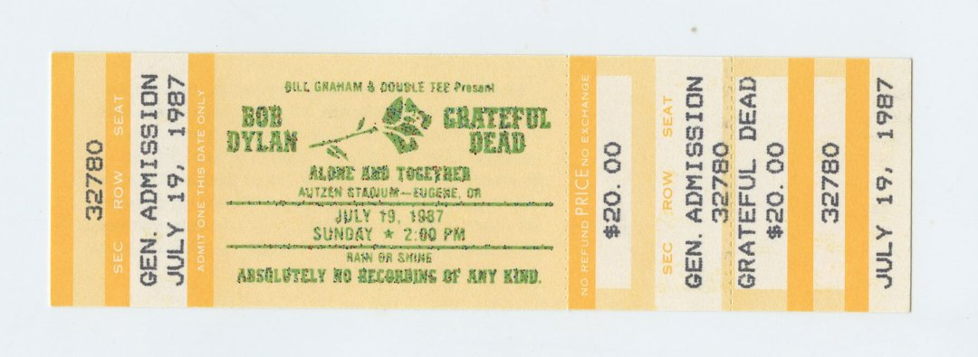 Bob Dylan Grateful Dead Ticket 1987 Jul 19 Autzen Stadium Eugene OR Unused