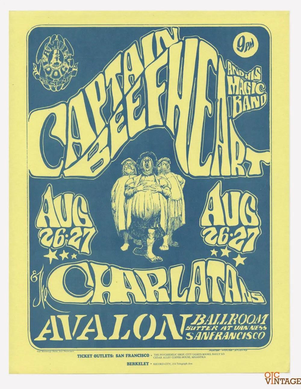 Family Dog 23 Handbill Captain Beefheart 1966 Aug 26 Stanley Muse Alton Kelley