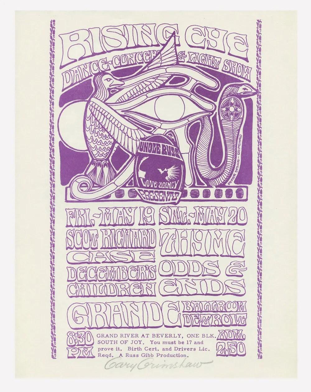 Grande Ballroom Handbill 1967 May 19 Gary Grimshaw signed
