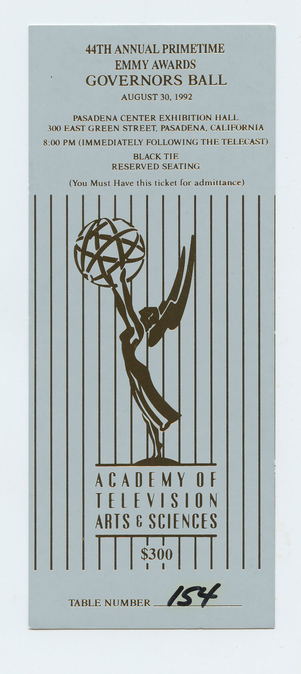 1992 44th Annual Primetime Emmy Awards Governors Ball ticket
