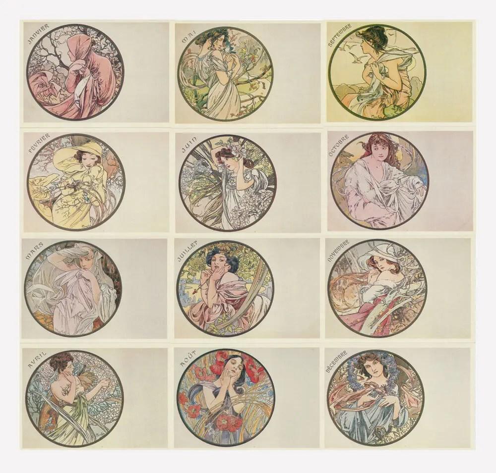 Alphonse Mucha Postcard set of 12 French Art Nouveau 1987