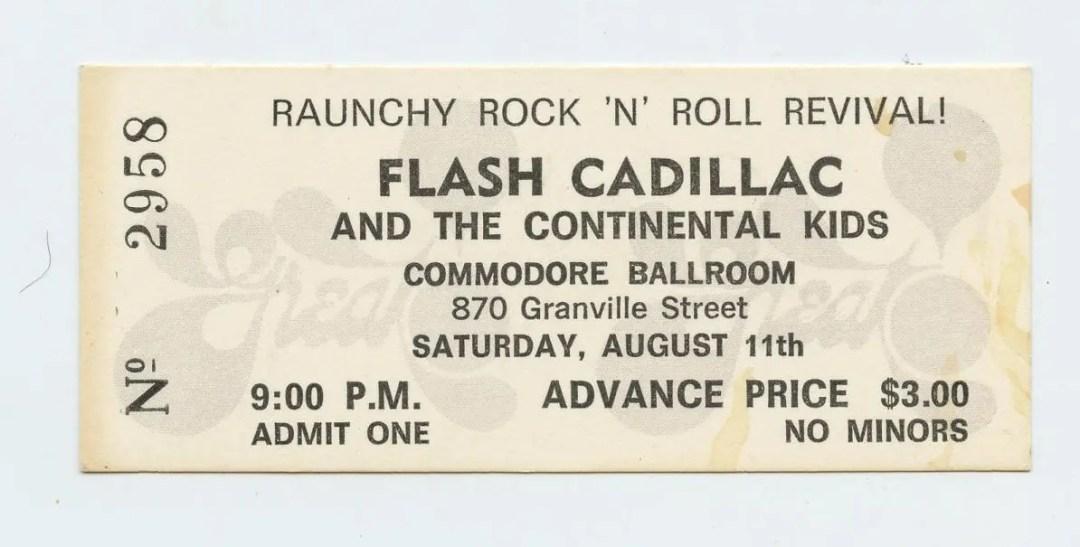 Flash Cadillac Ticket 1973 Aug 11 Commodore Ballroom Vancouver