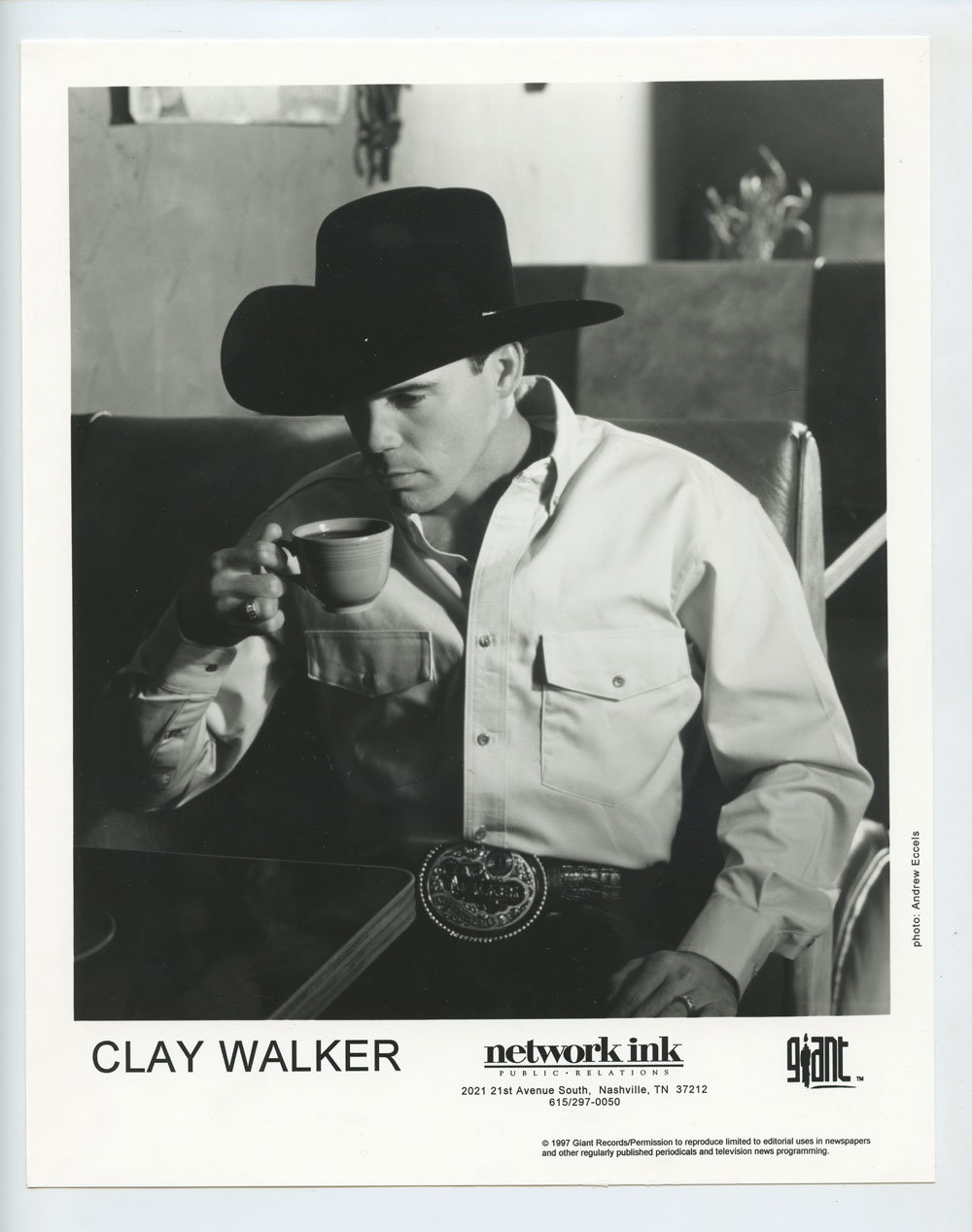 Clay Walker Photo 1997 Publicity Promo Giant Records