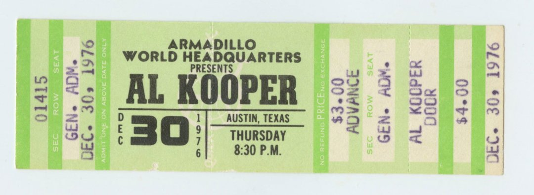 AL KOOPER Ticket 1976 Dec 30 Austin TX unused
