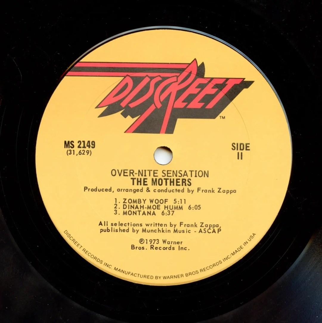 Frank Zappa The Mothers Vinyl Over-Nite Sensation 1973