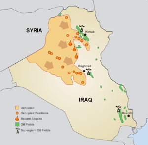 CALLOUT: Iraq's two million barrels of crude oil per day coming from its southern oil fields represent roughly two-thirds of the country's output.  Iraq held the fifth largest crude oil reserves in the world at the end of 2012, according to the EIA.  BP, Exxon Mobil, Shell and Chevron (ticker: CVX) are working in the southern Iraqi oil fields.