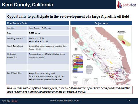 Conventional assets: KERN COUNTY PROJECT AREA - Petro River Oil