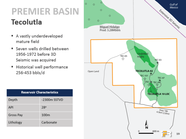 International Frontier Resources ( IFR ) map of Tecolutla Basin