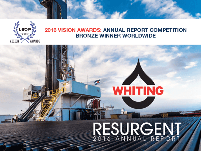 Whiting Petroleum 2016 Annual Report Wins LACP Award