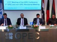 Taking questions after OPEC/non-OPEC joint production cut announcement on Dec. 7, 2018: left to right - Alexander Novak, Minister of Energy for the Russian Federation, Khalid A. Al-Falih, Saudi Arabia's Minister of Energy, Industry & Mineral Resources, Suhail Mohamed Al Mazrouei, the UAE Minister of Energy & Industry and president of the conference. Far right: OPEC Secretary General Mohammad Sanusi Barkindo of Nigeria.