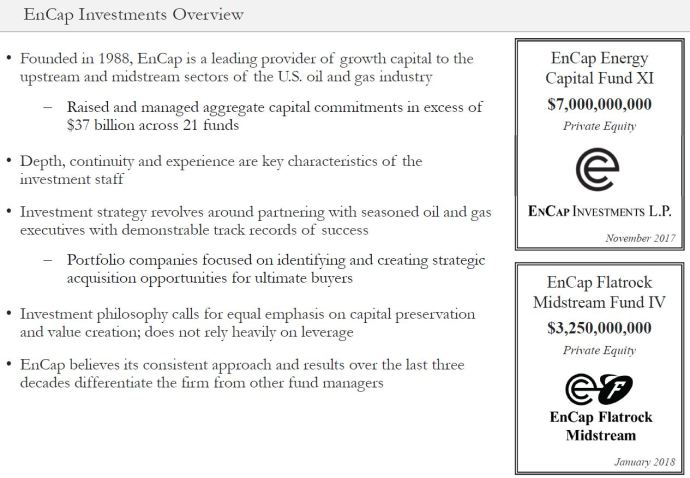 Source of Growth Capital - EnCap Investments is an energy-focused private equity firm that has raised and managed $37 billion committments to develop upstream and midstream assets since 1988 - The Evolution of Oil & Gas Funding - and Oil & Gas 360 Special Report