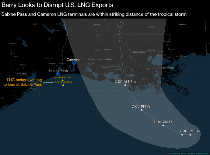 Tropical Storm Barry Puts 70% of Newly Minted U.S. LNG Capacity at Risk - Oil & Gas 360