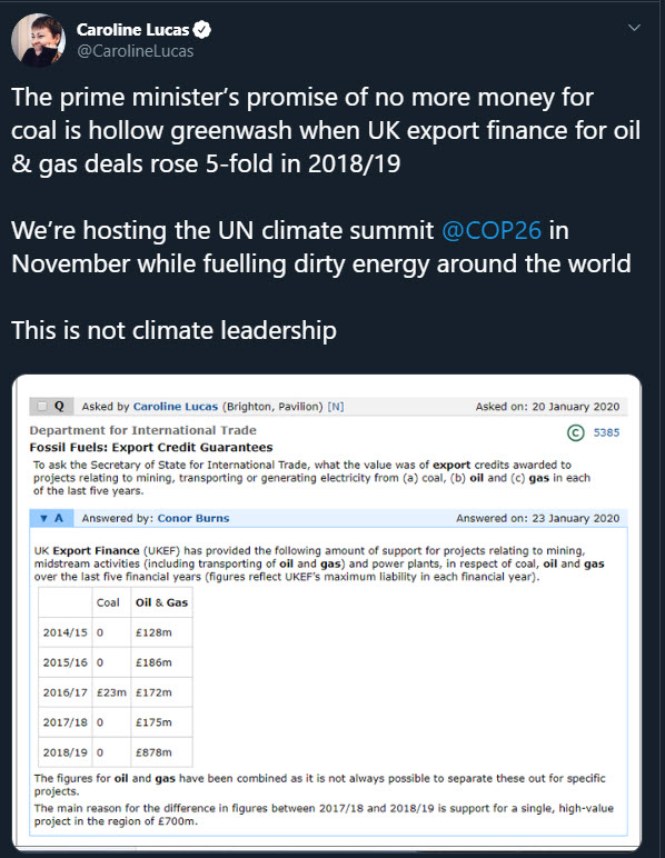 UK financing fossil fuel projects overseas 'emitting 69m tonnes of emissions - Tweet - oilandgas360