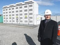 Rep. Bob Latta tours the AEP energy storage system in Bluffton on Wednesday morning. Latta serves on the U.S. House Committee on Energy and Commerce, specifically on the Energy Subcommittee, where he is focused a number of issues including how we can better work toward energy independence.