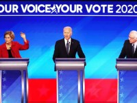 Sen. Elizabeth Warren, Joe Biden, and Sen. Bernie Sanders participate in the Democratic debate in Manchester, New Hampshire, on February 7, 2020. Joe Raedle/Getty Images