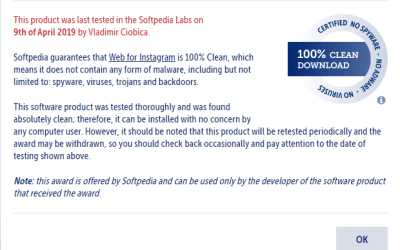 🐗 #OinkAndStuff certified as 100% Free of malware 🐞 by Softpedia Labs 🔬