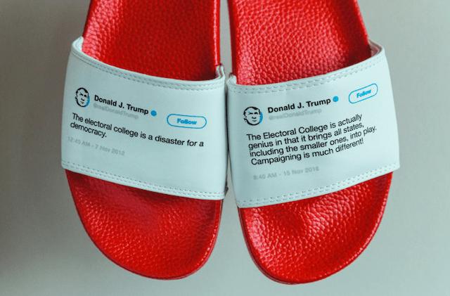Sandalias con Tweets de Trump
