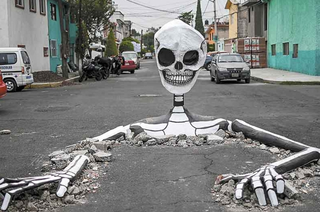 02 diciembre 2019, baches cdmx, Ciudad de México, baches, calavera, calles, avenidas