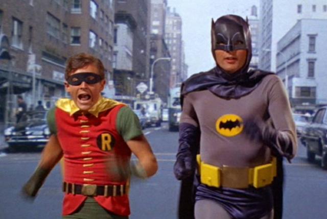 29 noviembre 2019, show televisión, Batman, Robin, personas, disfraces, trajes, actores, hombres