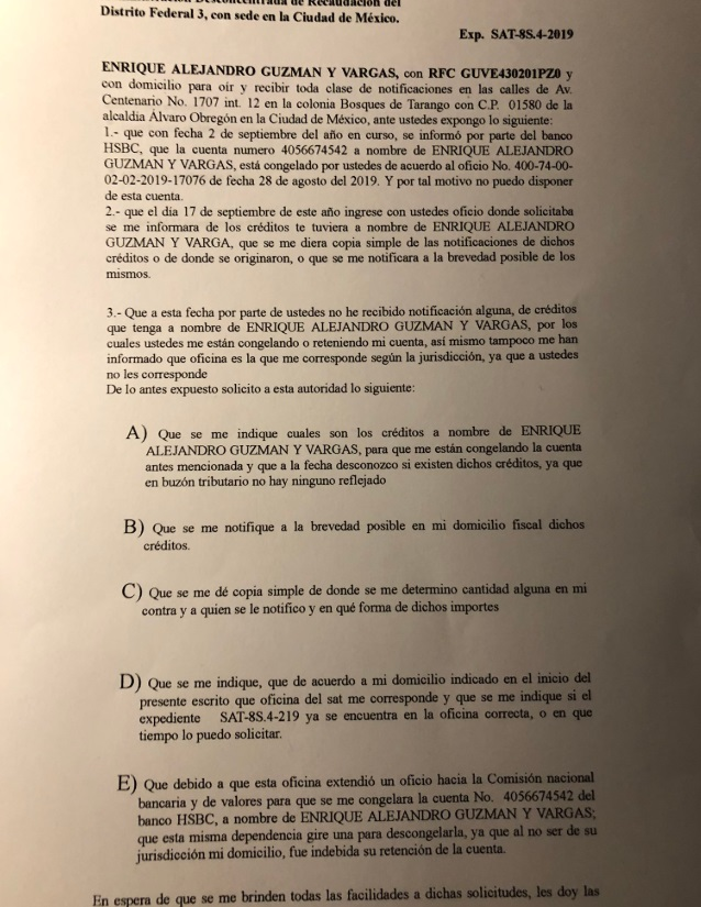 Imagen: Enrique Guzmán en su cuenta de Twitter compartió el escrito que envió al SAT, 7 de noviembre de 2019 (Imagen: Twitter @enriqueguzman