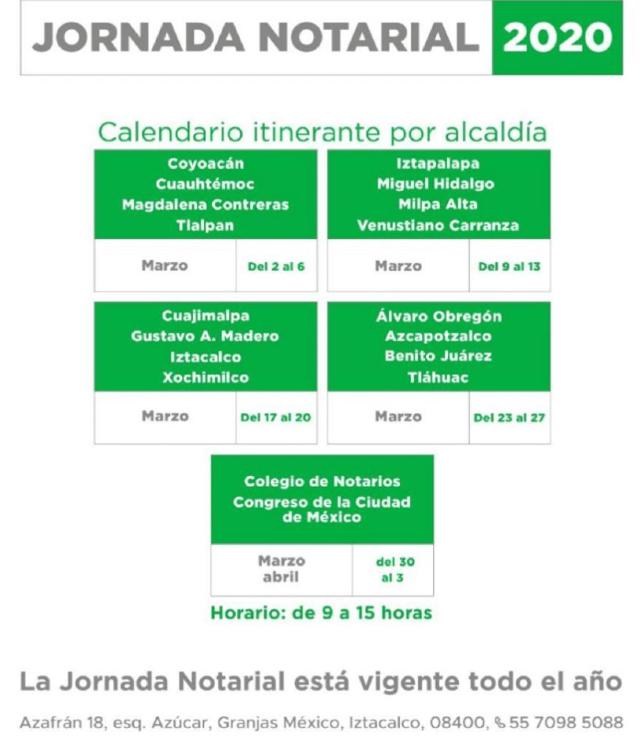 30 de enero 2020, Fechas de Jornada Notarial, Calendario, Alcaldías, Gobierno de la Ciudad de México, Jornada Notarial 2020
