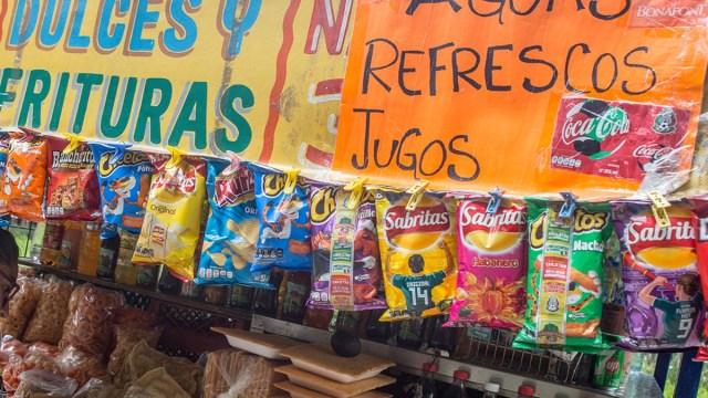 Impuestos en comida chatarra y refrescos, Tienda, Refrescos, Papas, Comida chatarra, alimentos chatarra