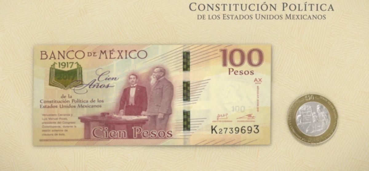 6 de febrero de 2020, billetes y monedas conmemorativas por centenario de Constitución de 1917 (Imagen: Banxico)
