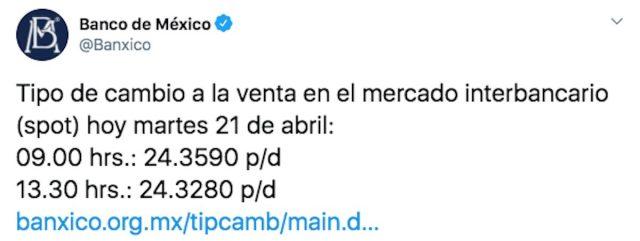 Tipo de cambio a la venta en el mercado interbancario según Banxico (Imagen: Twitter @Banxico)