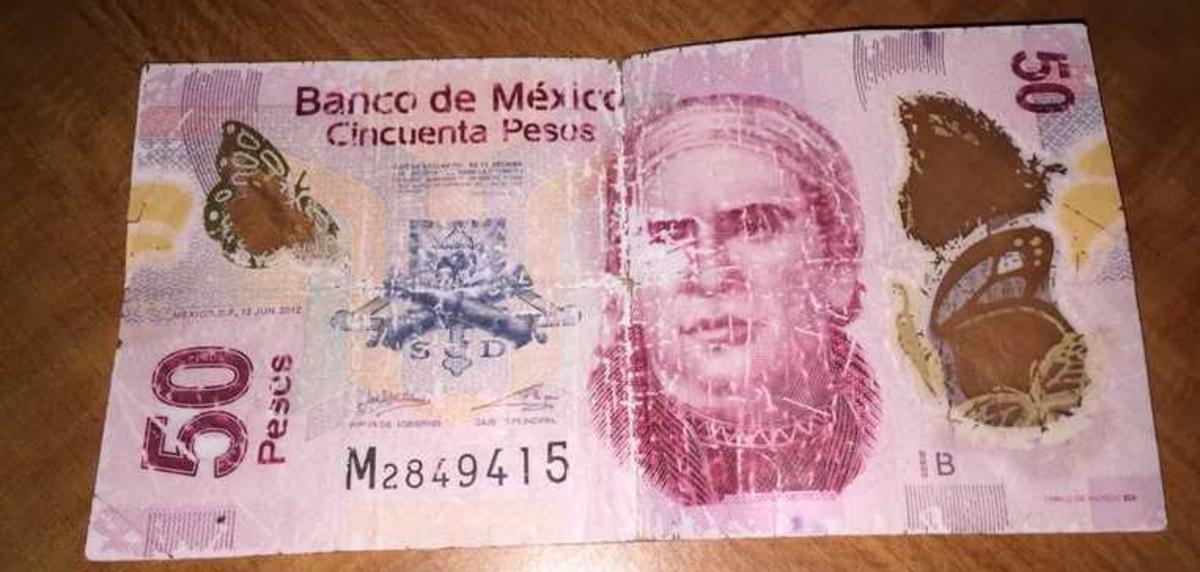 Billete Maltratado, Billetes, Billetes Pintados, Billetes Rotos, Dinero, Banco de México