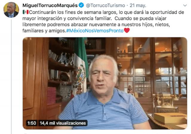 El secretario de Turismo de México, Miguel Torruco Marqués (Imagen: Twitter @TorrucoTurismo)