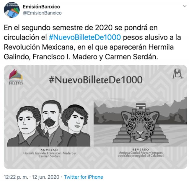Anuncian nuevo billete de mil pesos de Banxico (Imagen: Twitter @EmisionBanxico)