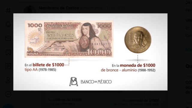 Monedas viejas en México (Imagen: Twitter @EmisionBanxico)