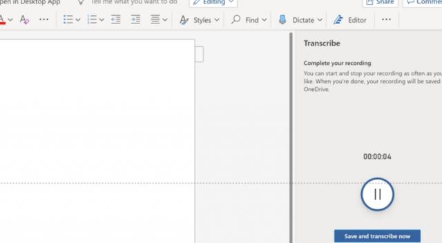 Transcribir un audio con la voz (Imagen: Microsoft.com)