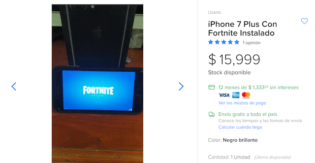Mercado Libre, iPhone Con Fortnite