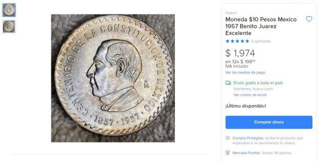 Oferta de la moneda de Benito Juárez