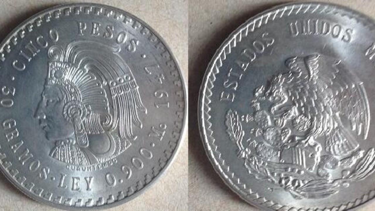 Venden moneda de 5 pesos de Cuauhtémoc en más de 2 mil pesos