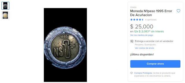 Oferta de una página de compra-venta por internet acerca de una moneda de un peso