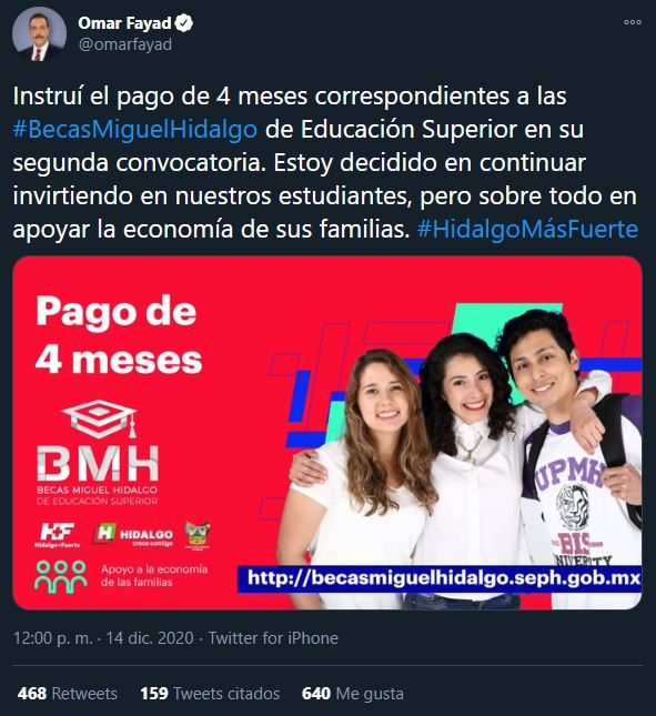Con este tweet se dio a conocer del adelanto del pago de las Becas Miguel Hidalgo