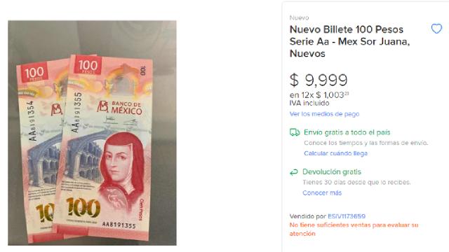 Billete de 100 pesos de Sor Juana