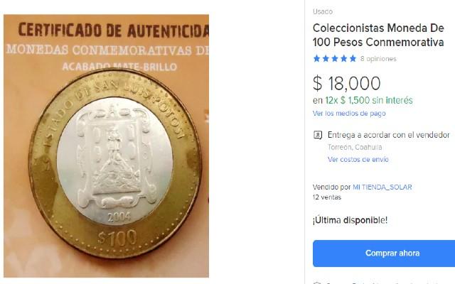 Esta es la moneda de 100 pesos que se vende en casi 20 mil pesos