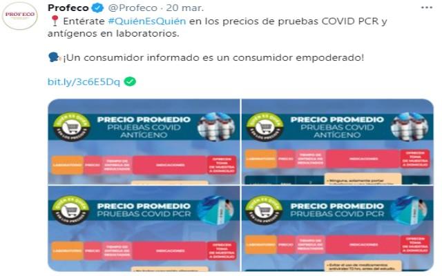 Profeco compartió en redes sociales el precio de las pruebas