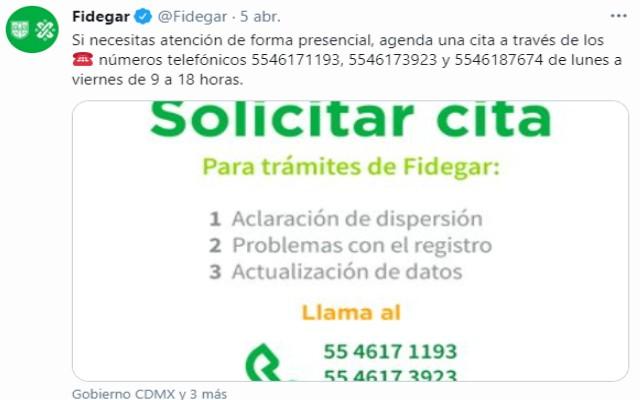 El Fidegar compartió a través de redes sociales la información para agendar una cita