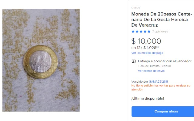 Esta es la oferta y el reverso de la moneda de 20 pesos que se vende en 10 mil pesos