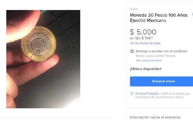 Así se ve la oferta de la moneda de 20 pesos del Ejercito Mexicano
