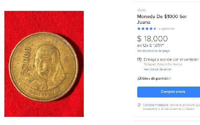 Así se ve la oferta en internet por la moneda de mil pesos