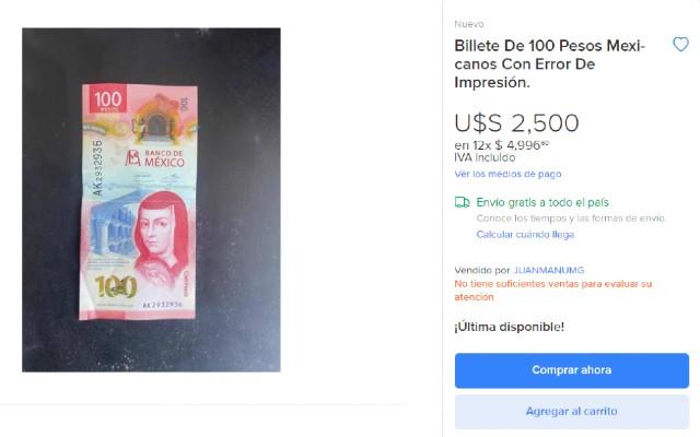 El billete de 100 pesos se vende en 2 mil 500 dólares