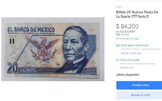 Este billete se vende en sitios como el de Mercado Libre a precios que van de los más de 60 mil hasta los 70 mil pesos.