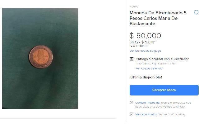 Esta es la oferta que se ve en internet por la moneda de 5 pesos
